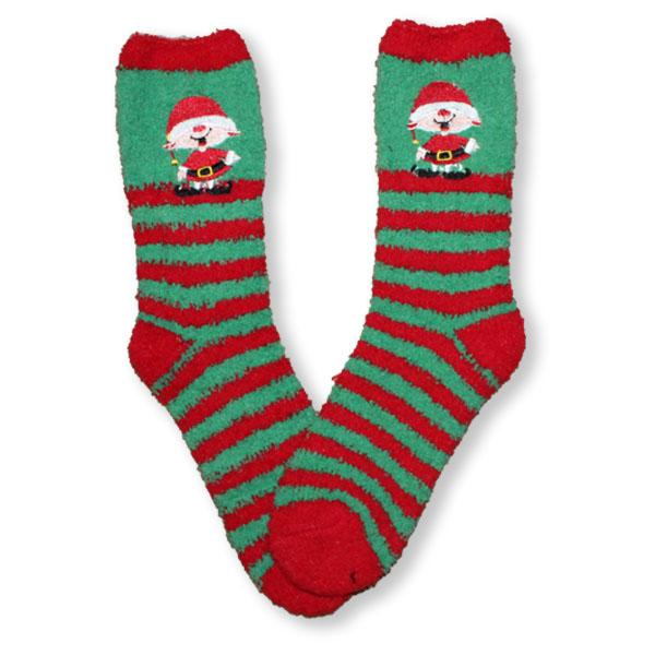 Elf Socks Fuzzy Applique Christmas Women's Sock