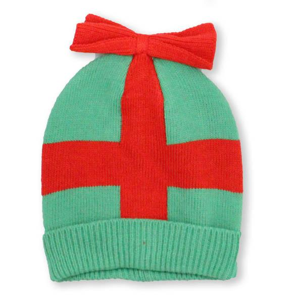 Green Holiday Package with Bow Knit Hat