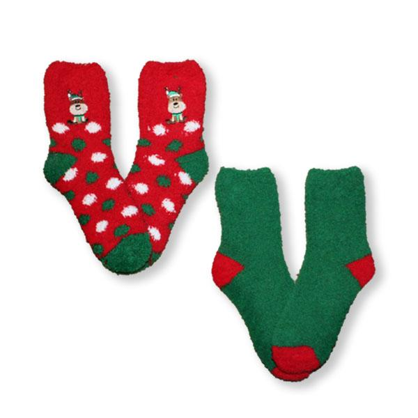 Fuzzy Reindeer Women's 2 Pack Socks