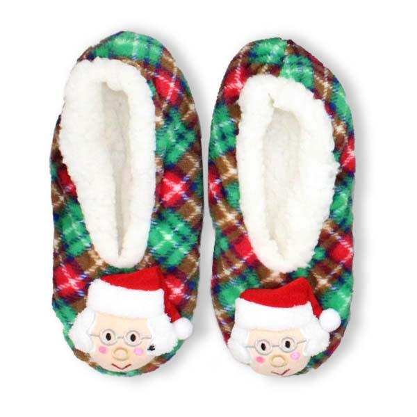 Mrs. Claus Christmas Sherpa Slipper Green / S