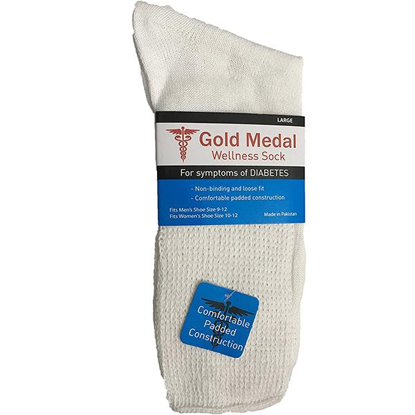 White Diabetic 3 Pack Socks Medium / White