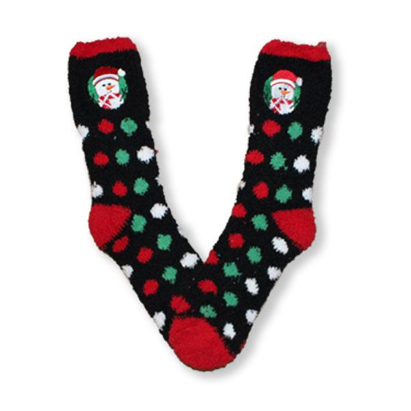 Snowman Dots Socks Fuzzy Applique Christmas Women's Sock