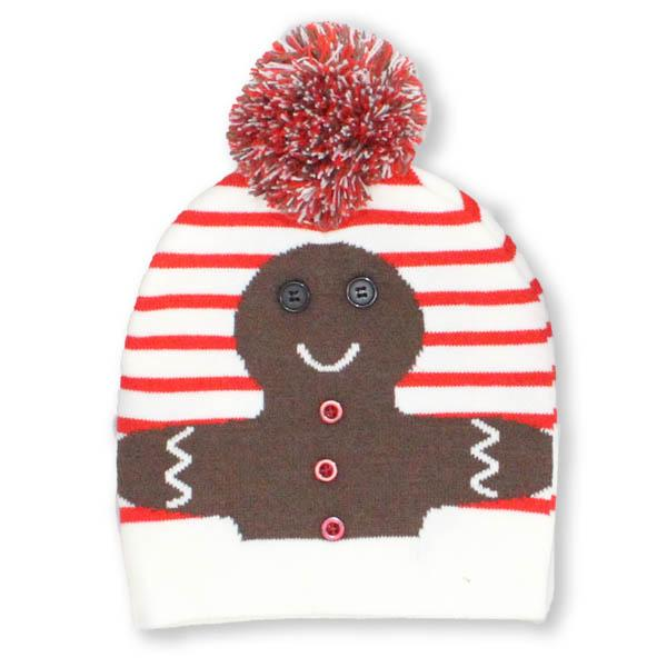 Cream Gingerbread with Pom Pom Knit Hat