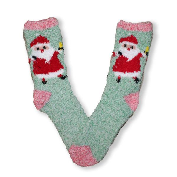Santa Fuzzy Applique Christmas Women's Sock