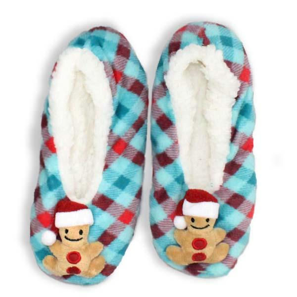 Gingerbread Christmas Sherpa Slipper Blue / S