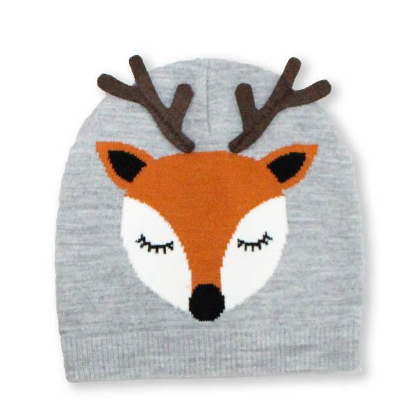 Reindeer Holiday Knit Hat Grey