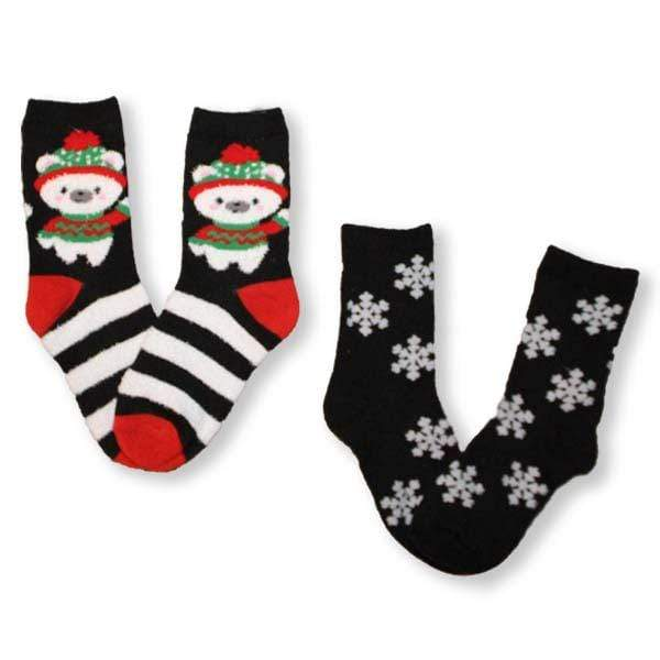 Fuzzy Bear and Snowflakes Children's Christmas 2 Pack Sock Black