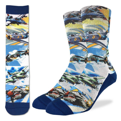 Fighter Jets of the 50's Active Fit Crew Socks for Men