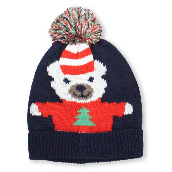 Holiday Polar Bear with Pompom Knit Hat Black