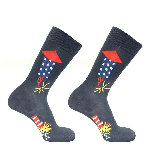 4th Of July Firecracker Socks Men's Crew Sock Navy
