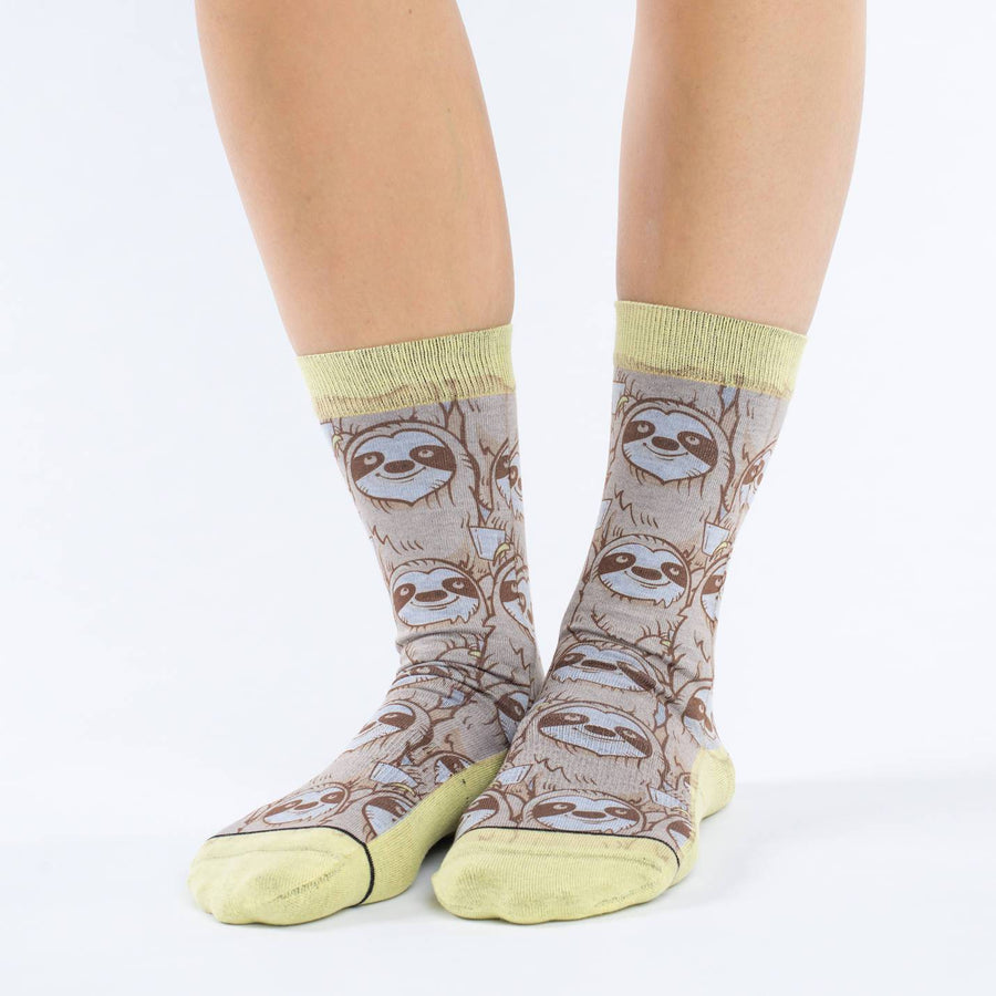 Coffee Sloth Socks Active Fit Crew for Women