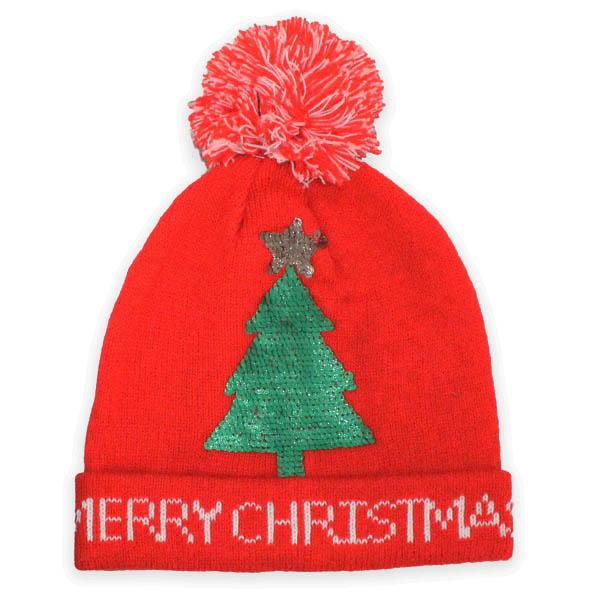 Christmas Tree with Pompom Knit Hat Red