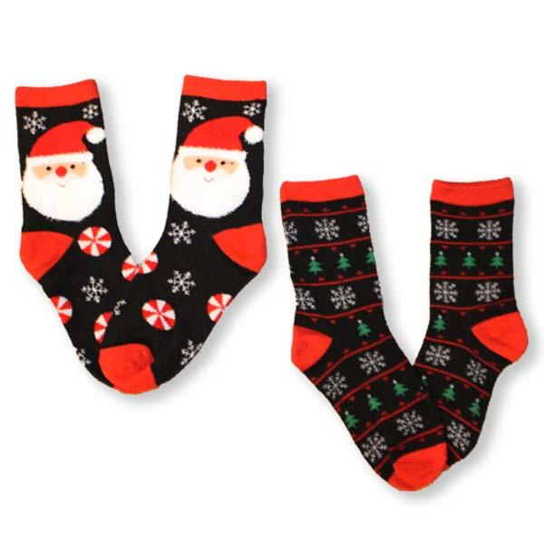 Santa & Christmas Trees Socks Children's Christmas 2 Pack Black