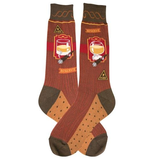 Bourbon and Cigar Socks for Men red