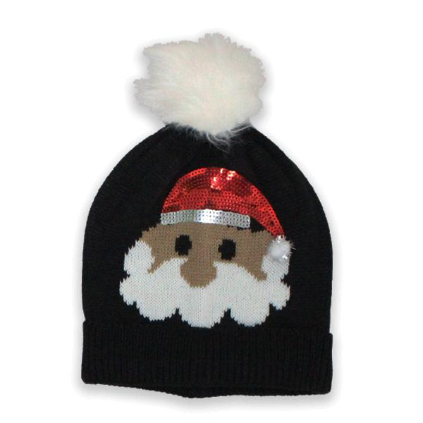 Sparkle Santa with Puff Knit Hat Black