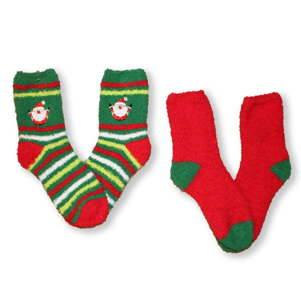 Fuzzy Santa Stripe Women's 2 Pack Socks