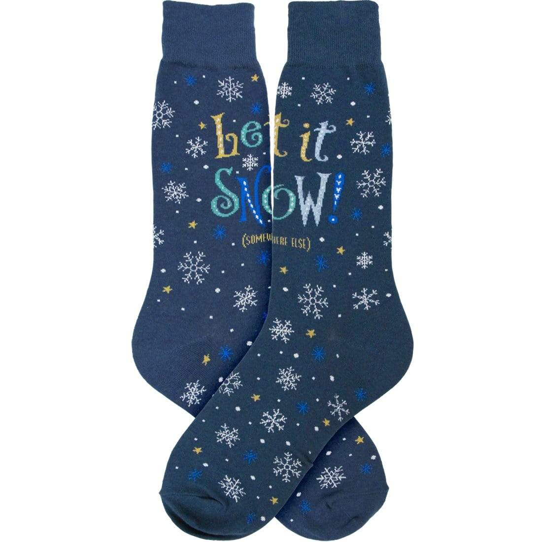 Let It Snow Blue Men's Crew Socks