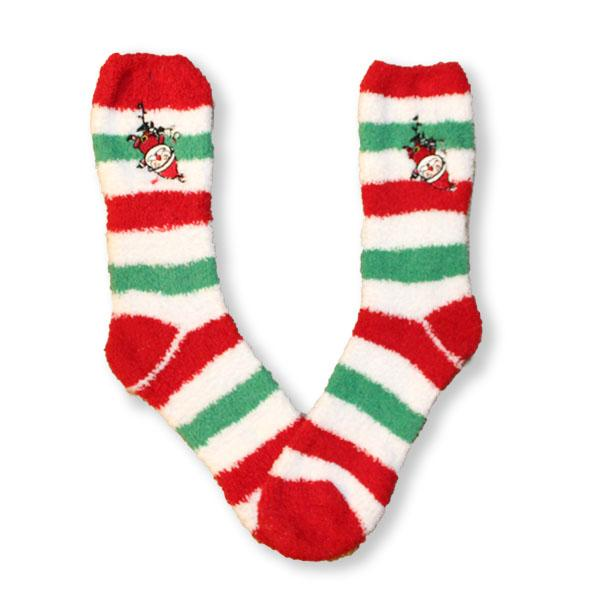 Santa Stripe Socks Fuzzy Applique Christmas Women's Sock Green