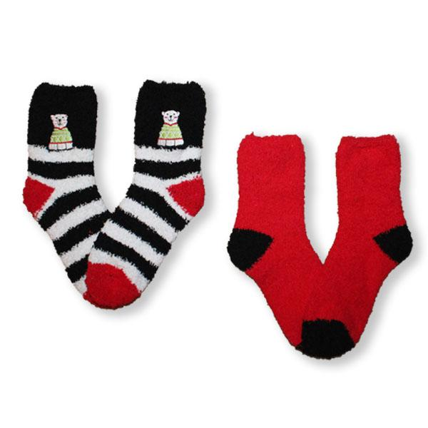 Fuzzy Polar Bear Women's 2 Pack Socks Red