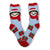 Santa Dog Socks Fuzzy Applique Christmas Women's Sock