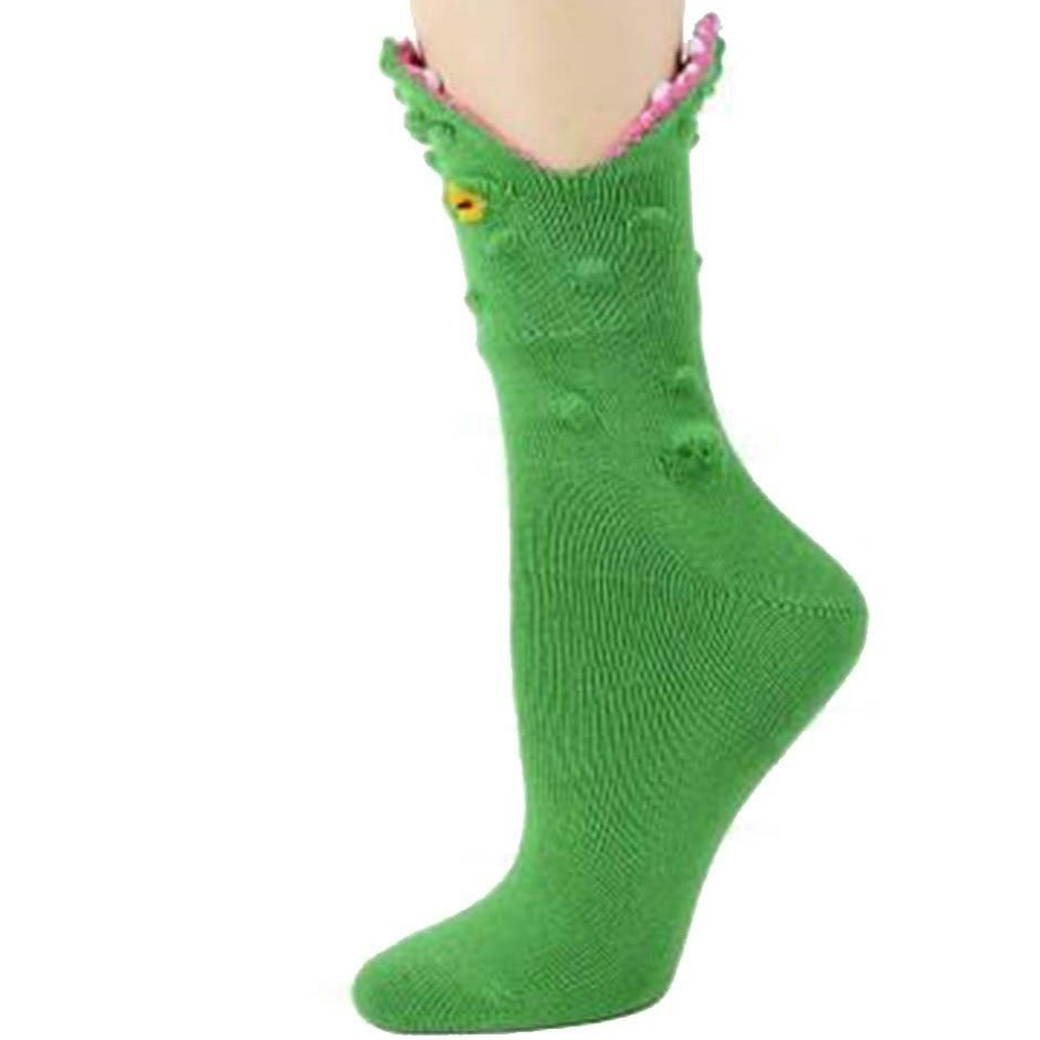 Alligator 3D Socks Women's Crew Sock green