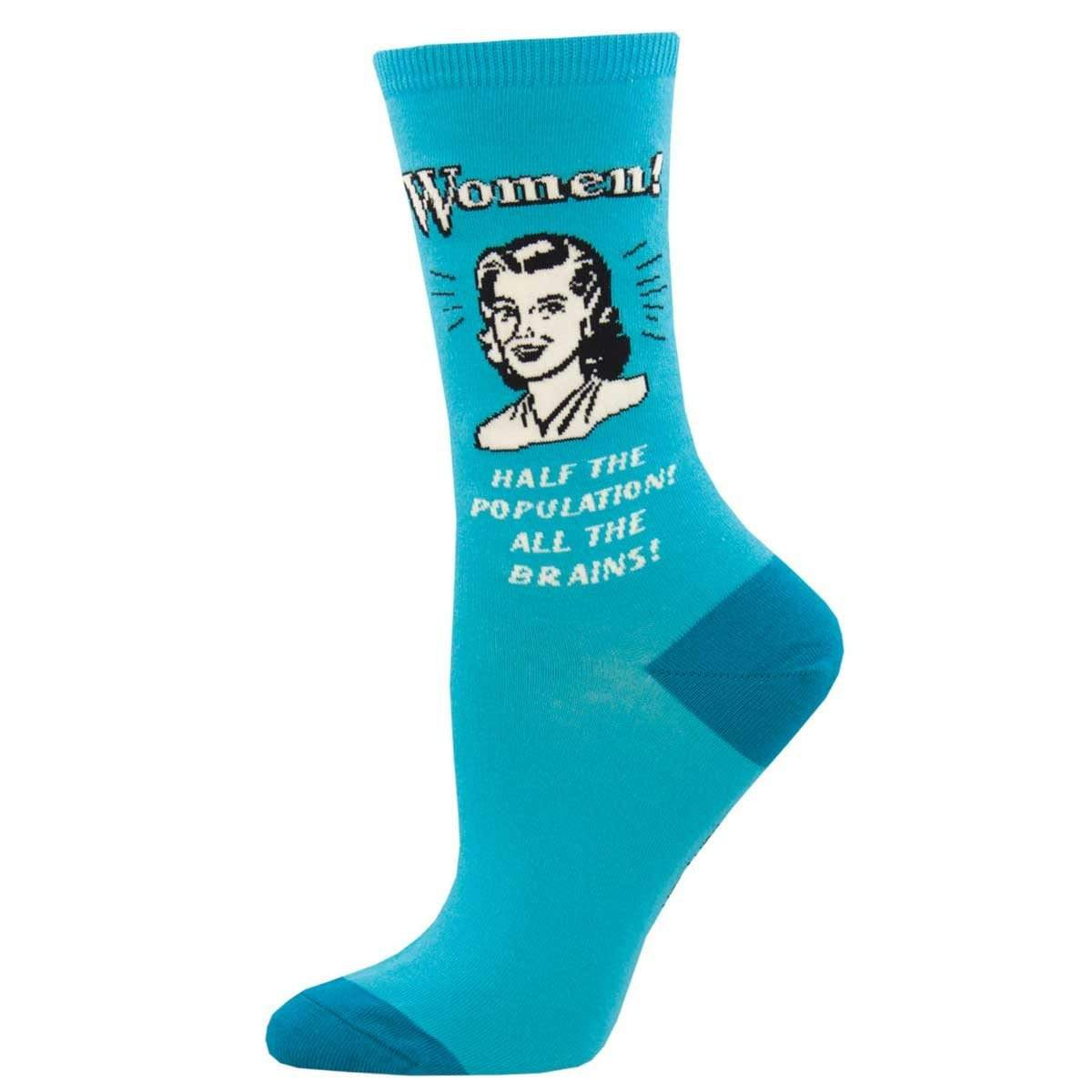 All The Brains Women's Crew Sock Teal