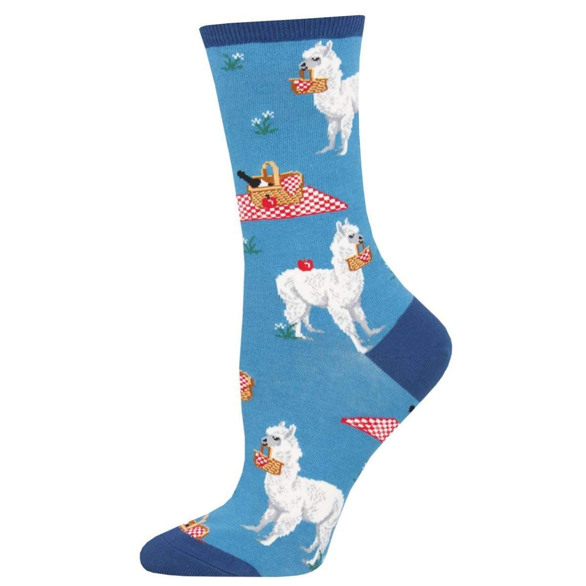 Alpaca Lunch Women's Crew Sock Blue