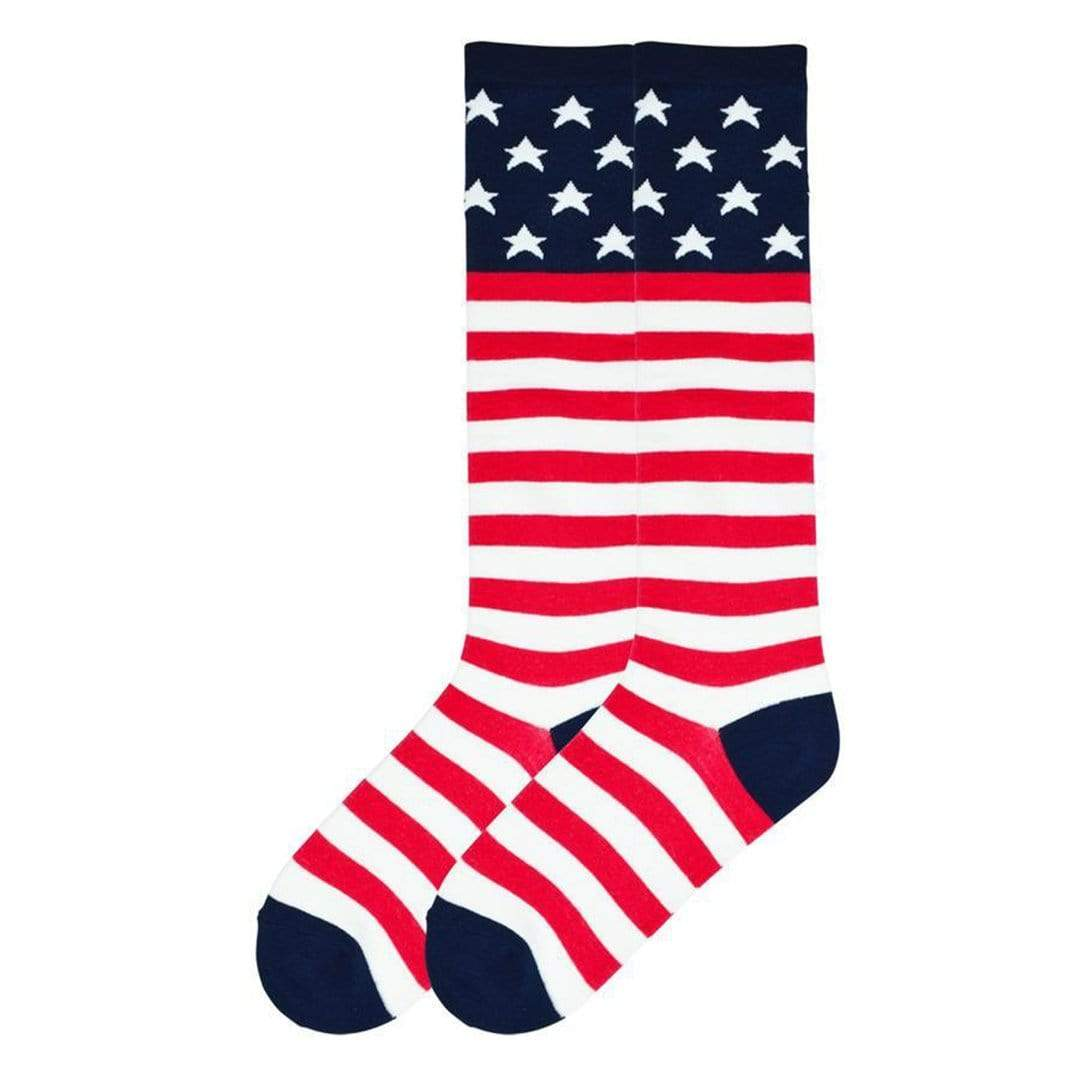 American Flag Sock Women's Knee High Sock Red