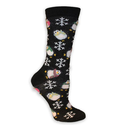 Christmas Penguins Women's Holiday Sock Black