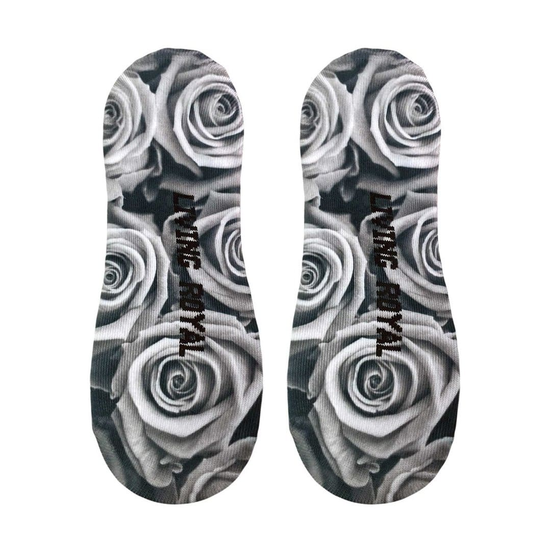 Black & White Roses Liner Socks No Show Sock Black