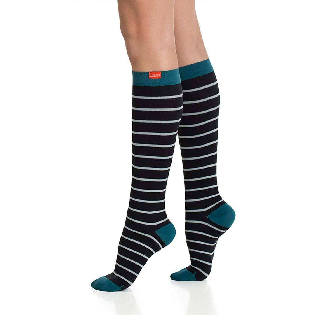 BLACK, MINT & TURQUOISE FIRM COMPRESSION SOCKS 2