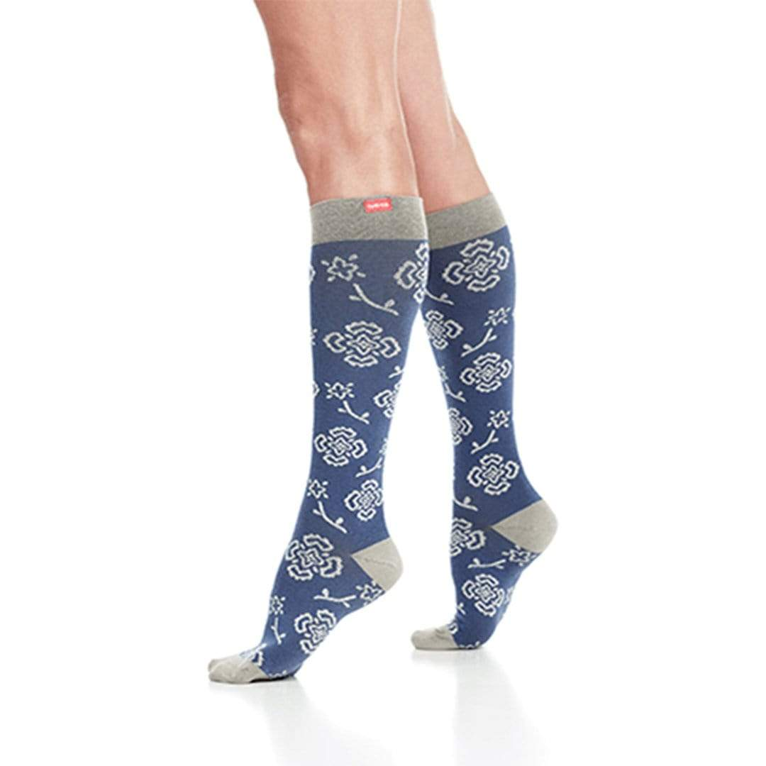 Blue & Grey Queen's Floral Compression Socks Unisex Knee High Sock