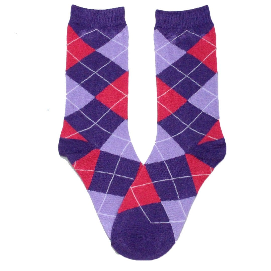 Brightly Colored Argyle Socks Women's Crew Sock Purple