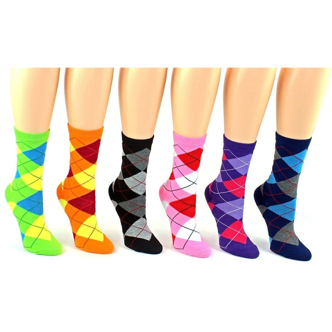 Brightly Colored Argyle Socks Women's Crew Sock