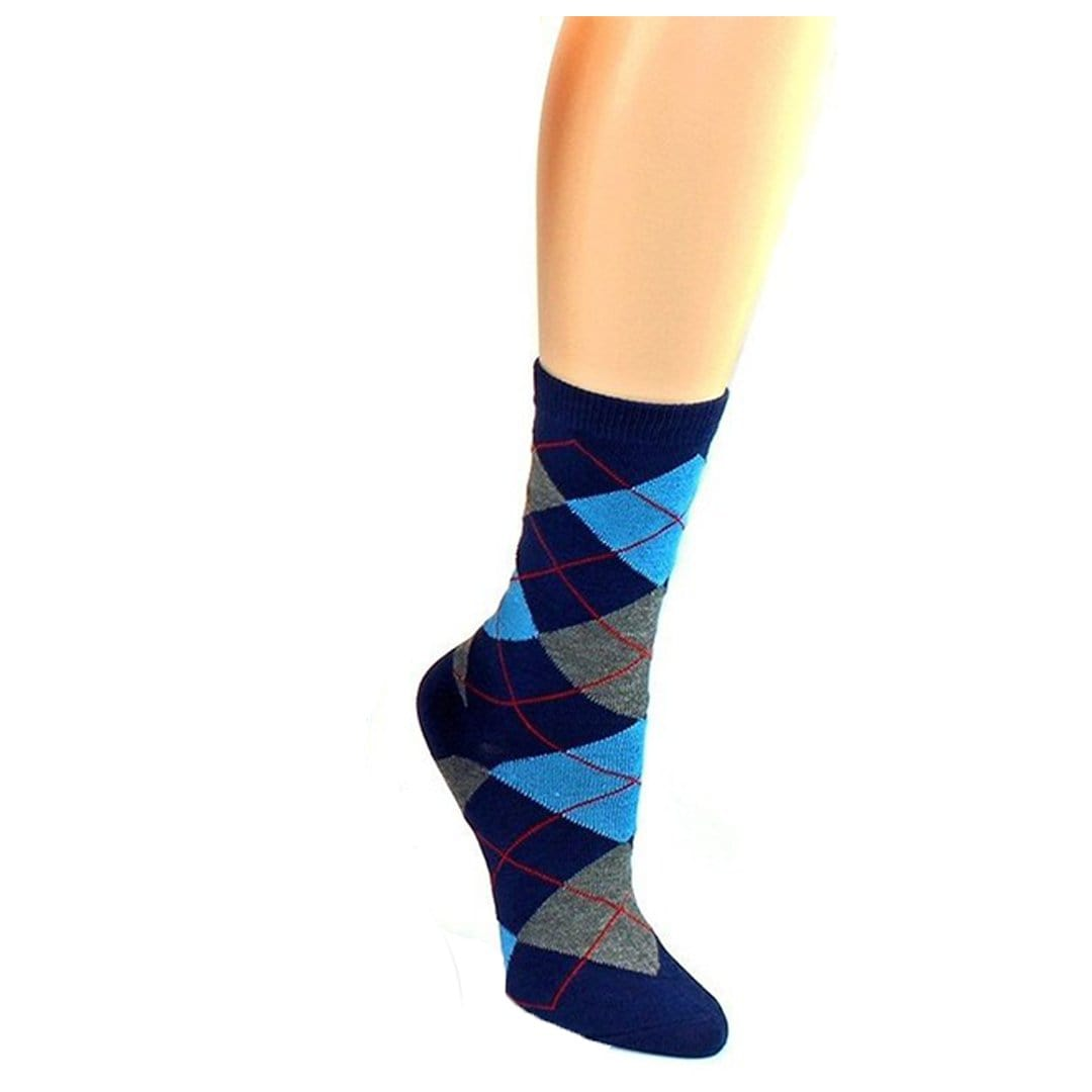 Brightly Colored Argyle Socks Women's Crew Sock Blue