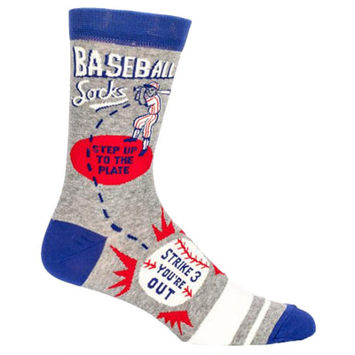 Baseball Strike Three Socks Men's Crew Sock gray