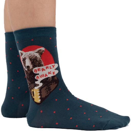Bearly Awake Men's Crew Sock Blue