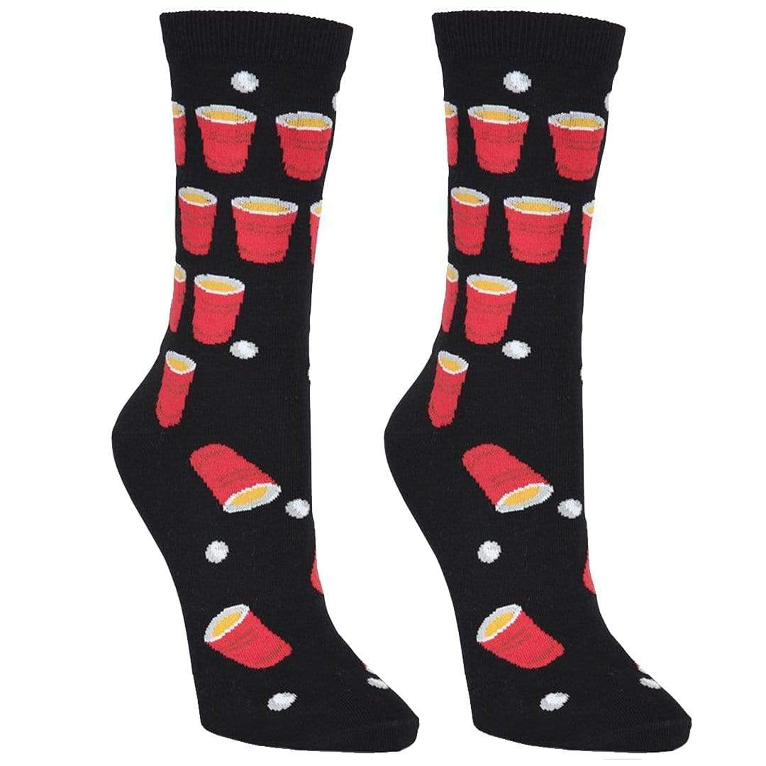 Beer Pong Socks Women's Crew Sock Black