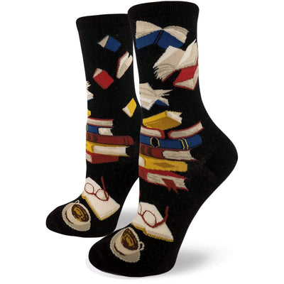 Library Socks for Literacy Women's Crew Sock Black
