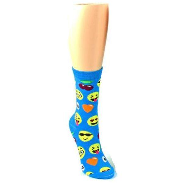 Emoji Socks Women's Crew Socks Blue with emojis