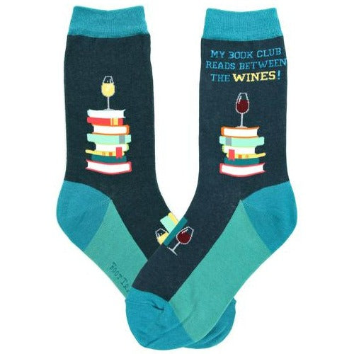Book Club Socks Women's Crew Sock blue