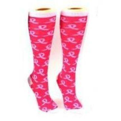 breast-cancer-awareness-socks-knee-high-black-socks-for-women