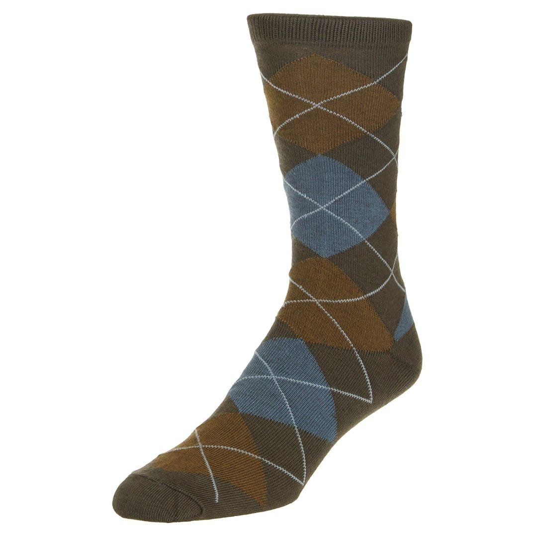 Casual Argyle Socks Men's Crew Sock Brown with blue and dark brown accents