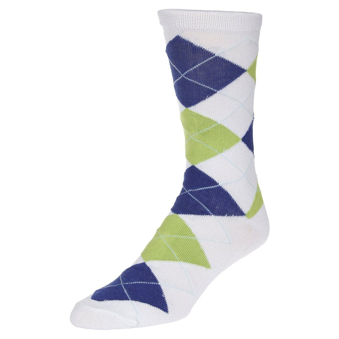 Casual Argyle Socks Men's Crew Sock White with blue and green accents
