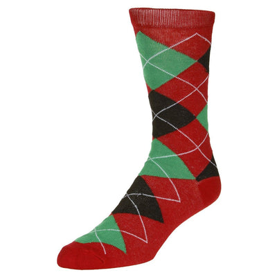 Casual Argyle Socks Men's Crew Sock Red with black and green accents