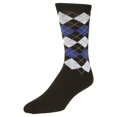 Casual Argyle Socks Men's Crew Sock Black with smaller blue and grey accents