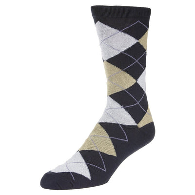Casual Argyle Socks Men's Crew Sock Blue with tan and grey accents