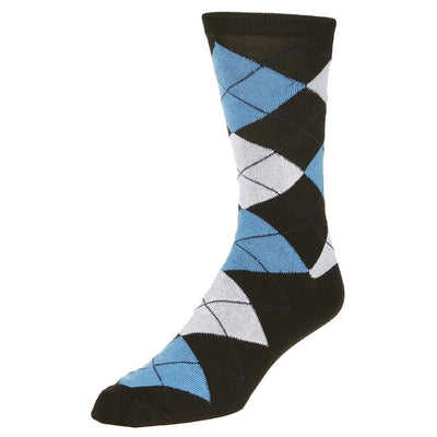 Casual Argyle Socks Men's Crew Sock Navy with blue and grey accents