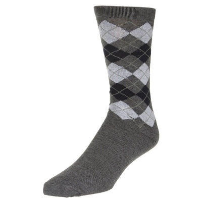 Casual Argyle Socks Men's Crew Sock Grey with small navy and white accents