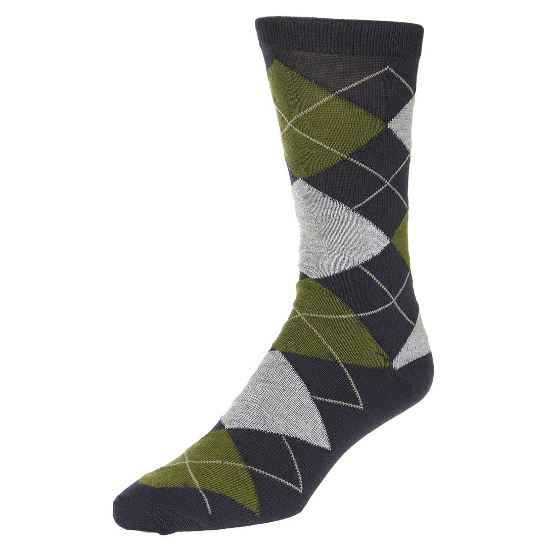 Casual Argyle Socks Men's Crew Sock Dark blue with green and grey accents